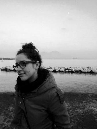 girl, promenade, boardwalk, seafront, naples, sea, glasses, scarf, coat