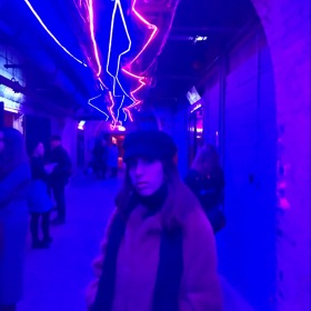 young, woman, girl, blue, lights, winter, clothes, cold, psychedelic