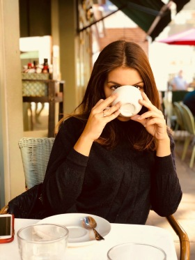 young, woman, girl, misterious, drink, drinking, coffee, teacup, cup, covering, face