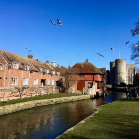 canterbury, river, red bricks, castle, field, green grass