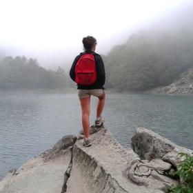 wanderlust, girl, lake, nature, fog