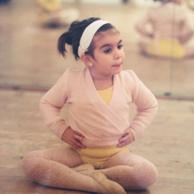 ballerina, little, girl, pink, yellow, gymnastic, artistic, exercises
